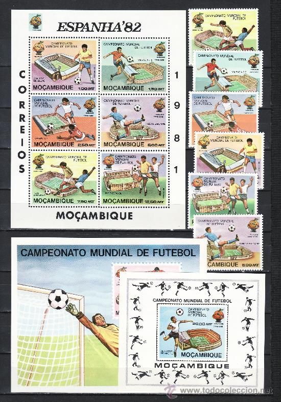 MOZAMBIQUE 782/7, HB 8, 2 HB RECUERDO SIN CHARNELA, DEPORTE, ESPAÑA 82 COPA DEL MUNDO DE FUTBOL (Sellos - Extranjero - África - Otros paises)