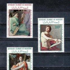 Sellos: MAURITANIA A 78/80 SIN CHARNELA, PINTURA DE DOMINIQUE INGRES. Lote 24782327