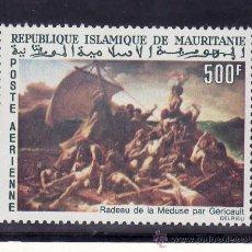 Sellos: MAURITANIA A 61 SIN CHARNELA, PINTURA DE GERICAULT, LA BALSA DE LA MEDUSA . Lote 24782510