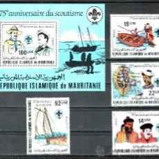 Sellos: MAURITANIA 496/9, HB 34 SIN CHARNELA, DEPORTE, BARCO, 75º ANIVERSARIO DEL MOVIMIENTO SCOUTS, . Lote 24782765