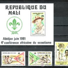Stamps - mali 425/7, hb 14 sin charnela, deporte, 4º conferencia african del scouts - 24788554