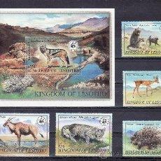 Stamps - lesotho 470/4, hb 12 sin charnela, wwf, fauna, proteccion de la vida salvaje - 24897628