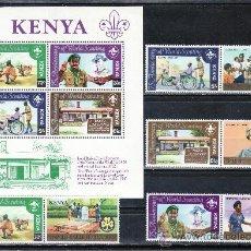 Sellos: KENYA 216/23, HB 16 SIN CHARNELA, 75º ANIVERSARIO DEL MOVIMIENTO SCOUTS, . Lote 24960831