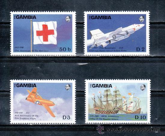 GAMBIA 710/3 SIN CHARNELA, CRUZ ROJA, AVION, BARCO, (Sellos - Extranjero - África - Otros paises)