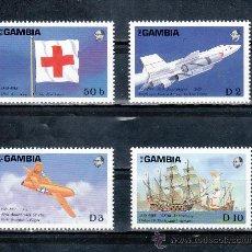 Sellos: GAMBIA 710/3 SIN CHARNELA, CRUZ ROJA, AVION, BARCO, . Lote 25419389