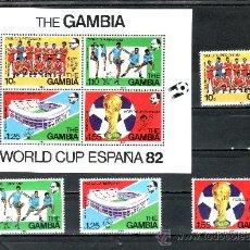 Sellos: GAMBIA 442/5, HB 6 SIN CHARNELA, DEPORTE, ESPAÑA 82, COPA DEL MUNDO DE FUTBOL, . Lote 25419657