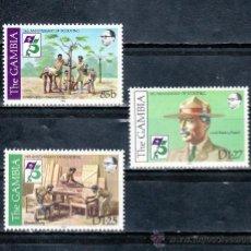 Sellos: GAMBIA 438/40 SIN CHARNELA, DEPORTE, 75º ANIVERSARIO DEL MOVIMIENTO SCOUTS . Lote 25419669