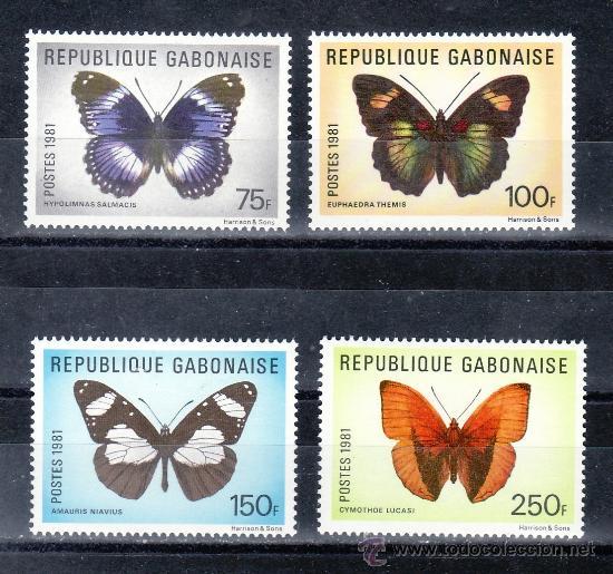 GABON 474/7 SIN CHARNELA, FAUNA, MARIPOSAS, (Sellos - Extranjero - África - Otros paises)