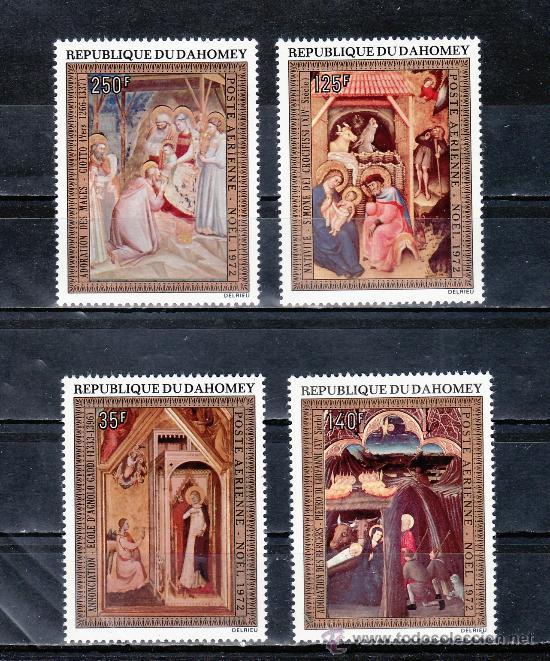 DAHOMEY A 174/7 SIN CHARNELA, NAVIDAD, PINTURA RELIGIOSA DE GIOTTO, (Sellos - Extranjero - África - Otros paises)
