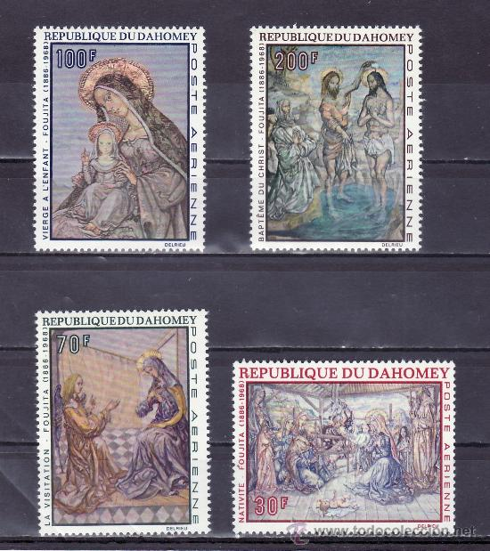 DAHOMEY A 93/6 SIN CHARNELA, PINTURA RELIGIOSA DE FOUJITA (Sellos - Extranjero - África - Otros paises)