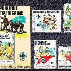 Sellos: CENTROAFRICANA 491/4, HB 53 SIN CHARNELA, DEPORTE, 75º ANIVERSARIO DEL MOVIMIENTO SCOUTS,. Lote 167804233