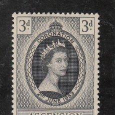 Sellos: ASCENSION 62 SIN CHARNELA, CORONACION DE ISABEL II. Lote 194714633
