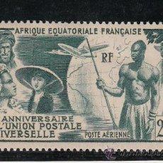 Sellos: AFRICA ECUATORIAL A 54 CON CHARNELA, AVION, U.P.U., 75º ANIVERSARIO DE LA UNION POSTAL UNIVERSAL,. Lote 26353351
