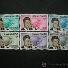 Sellos: RWANDA 1965 IVERT 122/7 *** 2º ANIVERSARIO MUERTE PRESIDENTE JOHN F. KENNEDY - PERSONAJES. Lote 29506096