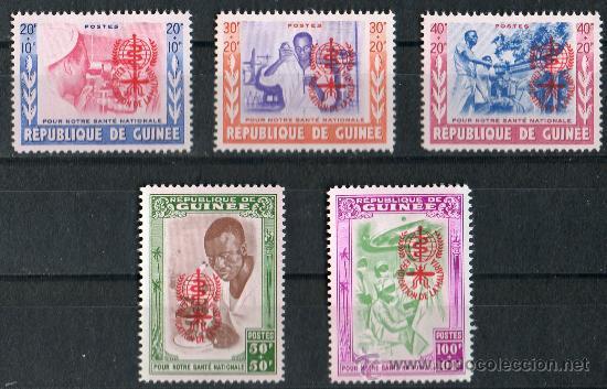 GUINEA AÑO 1962 YV 78/82*** ERRADICACIÓN DE LA MALARIA - MEDICINA - SALUD (Sellos - Extranjero - África - Otros paises)