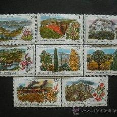 Sellos: RWANDA 1975 IVERT 660/7 *** PROTECCIÓN NATURALEZA - PAISAJES Y FLORES - FLORA. Lote 31769271
