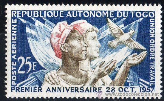 TOGO AÑO 1957 YV A 24*** PRIMER ANVº DE LA INDEPENDENCIA - JUVENTUD - BANDERAS - AVES - FAUNA (Sellos - Extranjero - África - Otros paises)