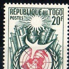 Sellos: TOGO AÑO 1958 YV 275*** 10 ANVº DE LA DECLARACIÓN DE LOS DERECHOS HUMANOS - BANDERAS - PALOMA DE PAZ. Lote 32085111