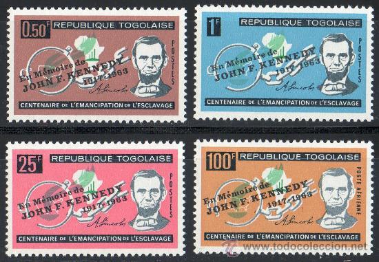 TOGO AÑO 1963 YV 406/08 + A 43*** MUERTE DE J F KENNEDY - ABRAHAM LINCOLN - PERSONAJES (Sellos - Extranjero - África - Otros paises)