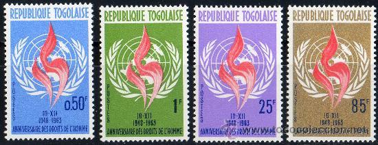 TOGO AÑO 1963 YV 395/98*** 15 ANVº DE LA DECLARACIÓN DE LOS DERECHOS HUMANOS - MAPAS (Sellos - Extranjero - África - Otros paises)