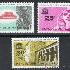 Sellos: TOGO AÑO 1964 YV 409/11*** PROTECCIÓN DE LOS MONUMENTOS NÚBIOS - UNESCO - ARQUEOLOGÍA - ESCULTURA. Lote 139394049