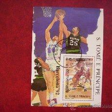 Stamps - SANTO TOME Y PRINCIPE-HOJA BLOQUE BARCELONA 92-DEPORTE.BALONCESTO. - 35811402
