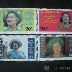 Sellos: TANZANIA 1985 IVERT 262A/62D *** 85º ANIVERSARIO DE LA REINA MADRE ELISABET - MONARQUÍA. Lote 36449277
