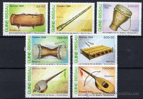 GUINEA BISSAU AÑO 1989 YV 500/06*** INSTRUMENTOS MUSICALES - MÚSICA - ARTE (Sellos - Extranjero - África - Otros paises)