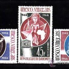 Sellos: DAHOMEY AÉREO 47/49** - AÑO 1966 - 20º ANIVERSARIO DE LA UNESCO. Lote 38777344