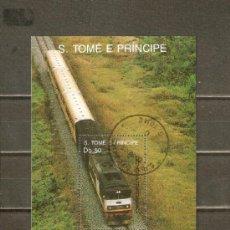 Sellos: SANTO TOME Y PRINCIPE HOJITAS TRENES Y LOCOMOTORAS YVERT NUM. 69/69A USADAS. Lote 38885275