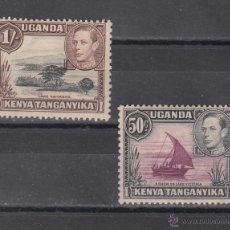 Sellos: KENYA-UGANDA-TANGANICA 56/7 CON CHARNELA, GEORGE VI, BARCO, ARBOL,. Lote 43852757