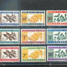 Sellos: RWANDA .- SERIE DE FLORA DEDICADA AL PRIMER ANIVERSARIO DE LA INDEPENDENCIA. Lote 45568126