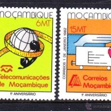 Sellos: MOZAMBIQUE 857/58** - AÑO 1982 - ANIVIVERSARIO DEL SERVICIO DE CORREOS Y TELECOMUNICACIONES. Lote 211441647