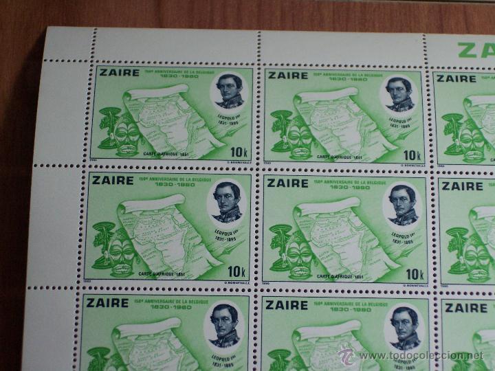 Sellos: HOJA COMPLETA DE 50 SELLOS DE ZAIRE (150 ANIVERSARIO DE LA BELGICA 1830-1980) - Foto 2 - 47105966