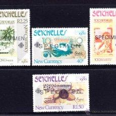 Sellos: SEYCHELLES 442/45** SPECIMEN - AÑO 1980 - EXPOSICIÓN FILATÉLICA LONDON 1980 - BILLETES DE BANCO. Lote 49722349