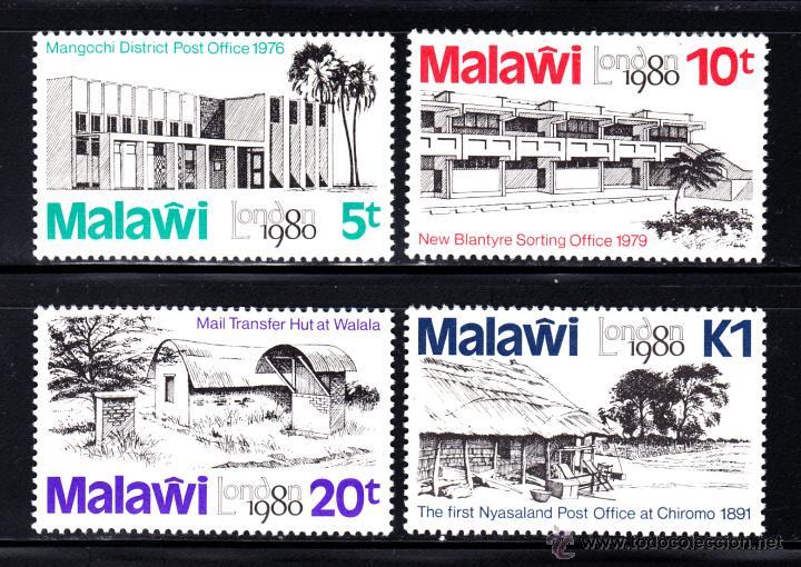 MALAWI 350/53** - AÑO 1980 - EXPOSICION INTERNACIONAL DE FILATELIA LONDON 80 - EDIFICIOS POSTALES (Sellos - Extranjero - África - Otros paises)