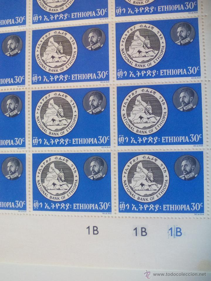Sellos: Hoja o pliego de 50 sellos de Etiopía de 30c. Ethiopia stamps. National & Comercial Banks of.. Sello - Foto 2 - 51213017