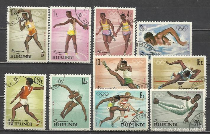 2804B-SERIE COMPLETA BURUNDI AFRICA AÑO 1964 Nº102/11.OLIMPIADAS TOKIO.DEPORTES,SPORT. (Sellos - Extranjero - África - Otros paises)