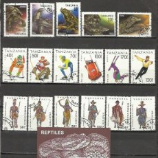 Sellos: Q502-LOTE SELLOS TANZANIA,AFRICA,SERIES COMPLETAS,TEMATICOS,REPTILES,DINOSAURIOS,COSTUMBRES,FLORES,D. Lote 55364599