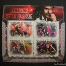 Sellos: BURUNDI 2012 HB *** LEYENDAS DE LA MÚSICA - CANTANTES. Lote 55902600