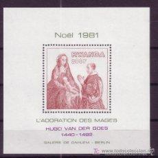 Sellos: RWANDA 1981 HB IVERT 92 *** NAVIDAD - PINTURA - HUGO VAN DER GOES. Lote 56154744