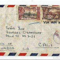 Sellos: SIERRA LEONA 1942 CARTA VOLADA DE FREETOWN SIERRA LEONA A CALI COLOMBIA.. Lote 57386672