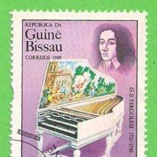 Sellos: GUINEA BISSAU - MICHEL 868 - YVERT 365 - INSTRUMENTOS MUSICALES - COMPOSITORES - PERGOLESI. (1985).. Lote 62893552