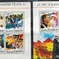 Sellos: DOS HOJAS BLOQUE DE TOGO DEL REY FELIPE VI DE ESPAÑA. Lote 66196542