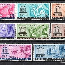 Sellos: RUANDA 183/90** - AÑO 1966 - 20º ANIVERSARIO DE UNESCO. Lote 194974917