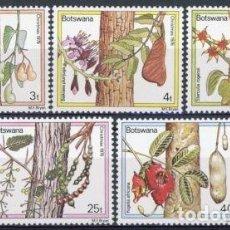 Sellos: BOTSWANA 1976 IVERT 326/30 * FLORA - FLORES Y FRUTOS DE LOS ARBOLES. Lote 66896558