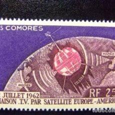 Sellos: COMORES 1962 TELECOMUNICACIONES ESPACIALES YVERT Nº PA 7 ** MNH. Lote 69435069