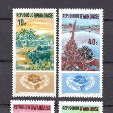 Sellos: RUANDA 118/21** - AÑO 1965 - AÑO DE LA COOPERACION INTERNACIONAL - FLORA - FAUNA. Lote 186461580
