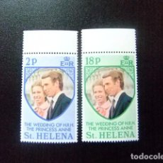 Sellos: SAINTE-HELENE ST HELENA 1973 MARIAGE DE LA PRINCESSE ANNE YVERT 263 / 64 ** MNH SG 295/96 ** . Lote 73608763