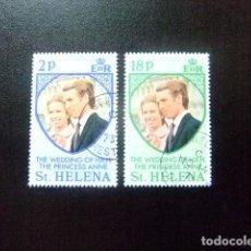 Sellos: SAINTE-HELENE ST HELENA 1973 MARIAGE DE LA PRINCESSE ANNE YVERT 263 / 64 FU SG 295 / 96 FU. Lote 73608863